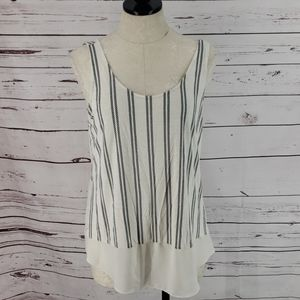 Maurice's Black and White Sheer Bottom Tank Top
